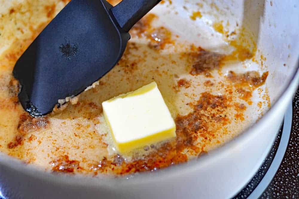 Adding butter to the pan