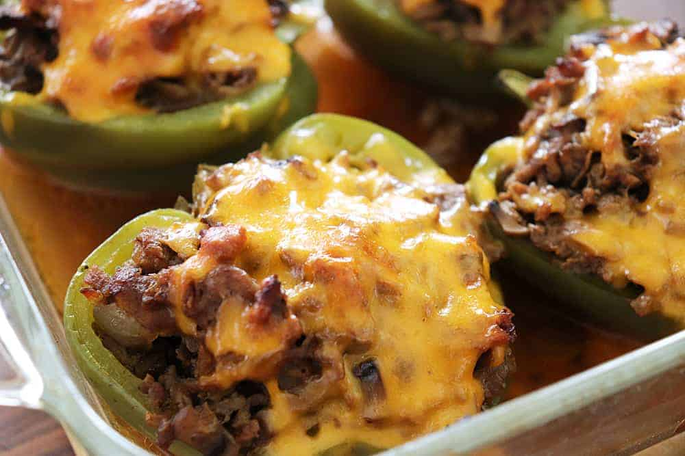 Keto Philly Cheesesteak Stuffed Peppers Baked