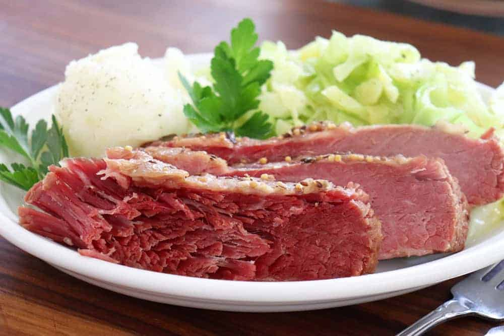 Corned Beef and Cabbage with Mustard Sauce HERO SHOT