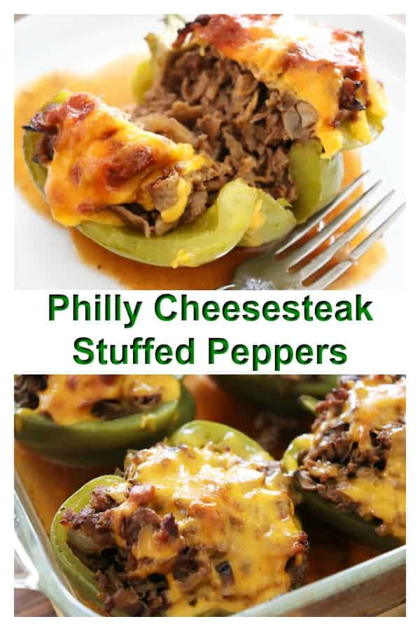 Pinterest Image Keto Philly Cheesesteak Stuffed Peppers