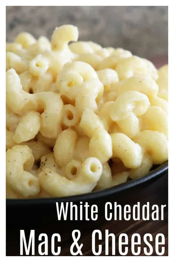 Pinterest Image for While Cheddar Mac & Cheese