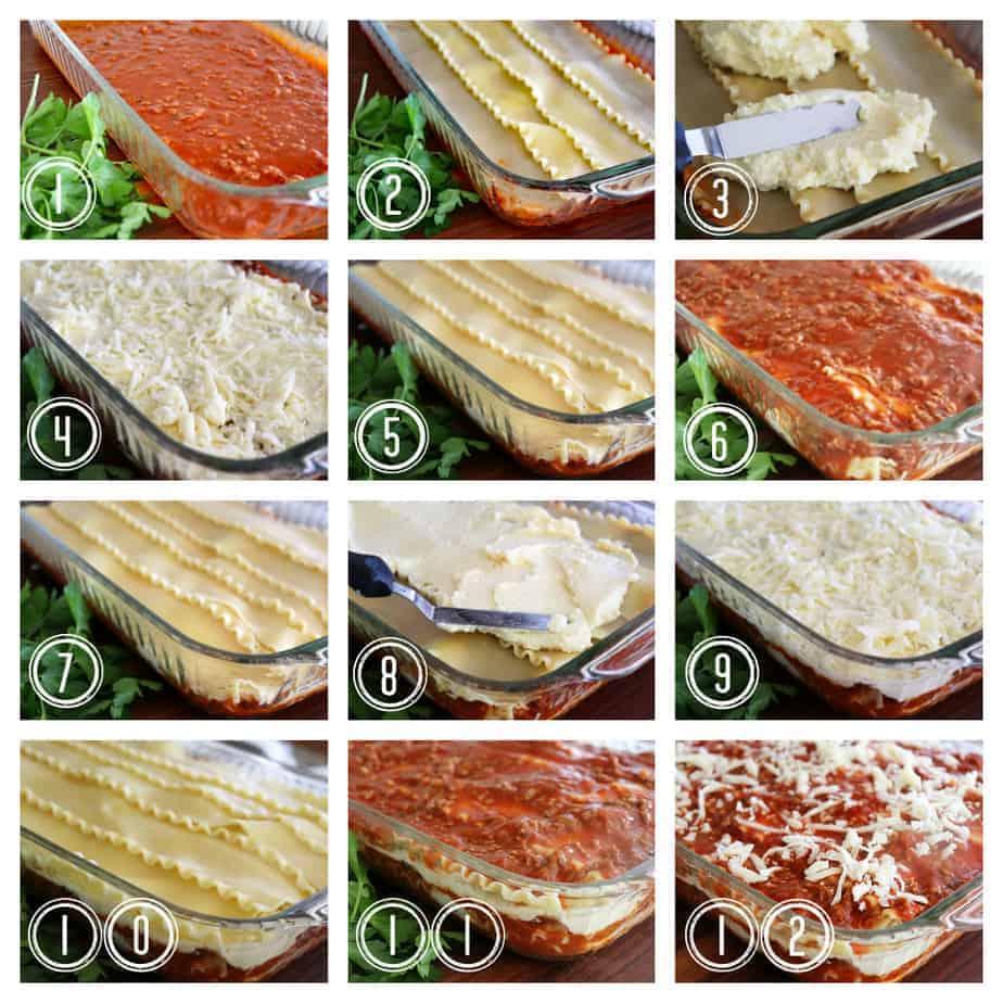 Process collage for Classic Lasagna Recipe