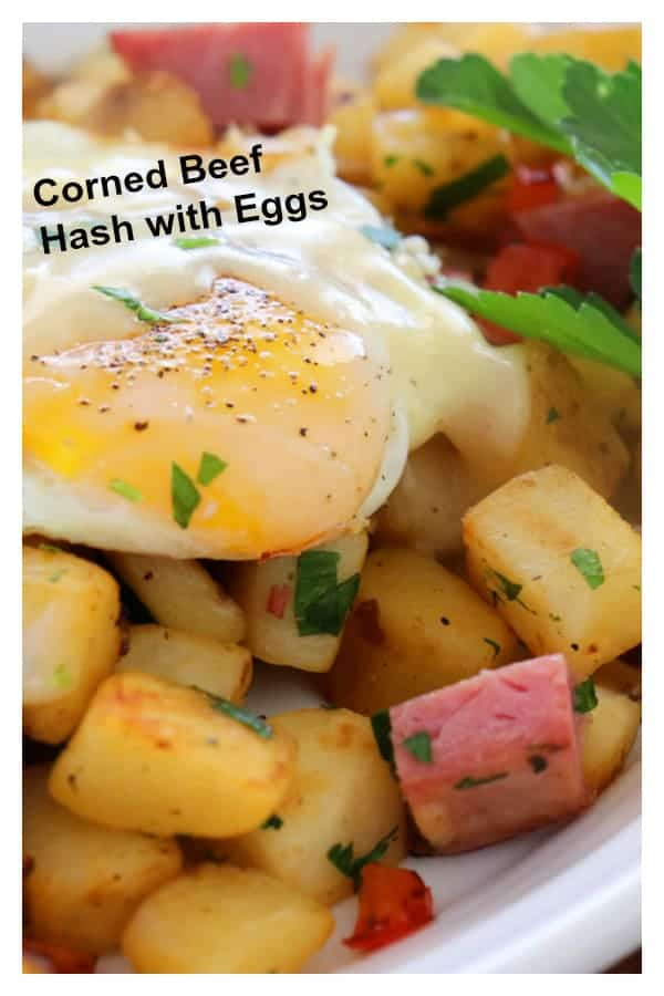 Pinterest Image for Corned Beef Hash with Eggs