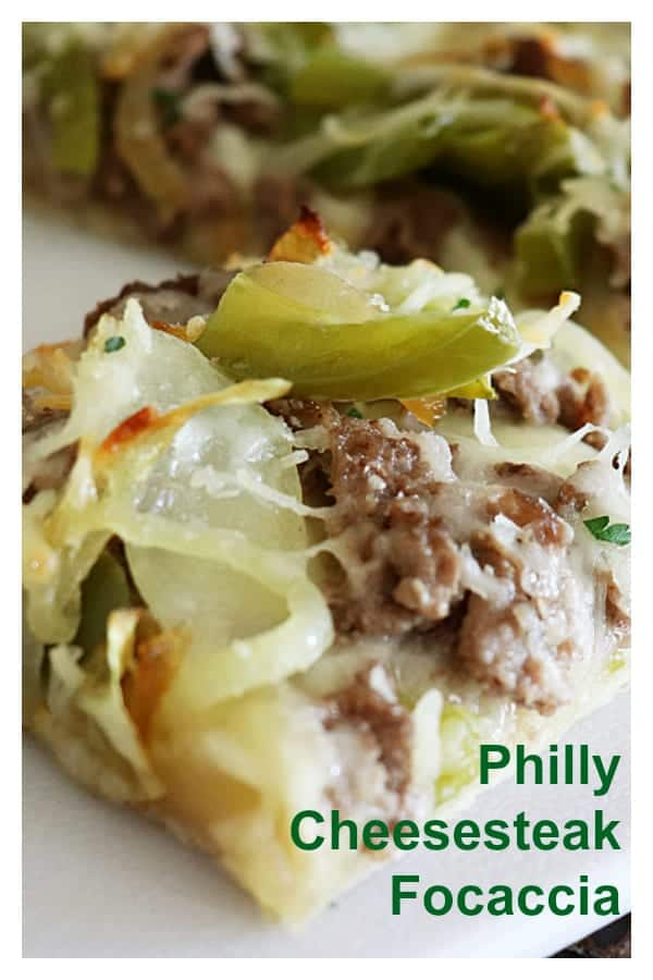 Pinterest Image for Philly Cheesesteak Focaccia